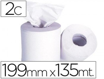 Limpieza Papel Industrial Celulusa 2 capas 199 mm. x 135 mts. mandril 76 mm.