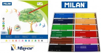 Pinturas madera MILAN Triangulares 288 lapices 12 colores
