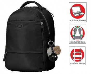 """Mochila TOTTO Mujer Commuter Pc. 14\"""" y tablet Choele 1910F-N01 negro"""