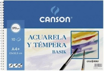 Bloc dibujo CANSON acuarela 230 x 325 mm. A4+ 370grs.10 hojas