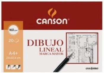 Bloc dibujo CANSON marca mayor 230 x 325 mm. A4+ 160 grs. 20 hojas