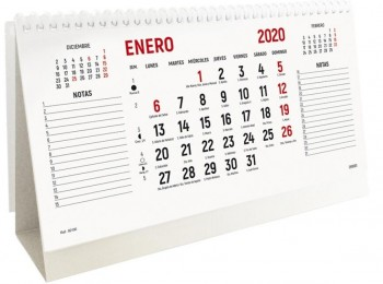 Calendario mesa INGRAF anual 220 x 130 mm. notas laterales 2020