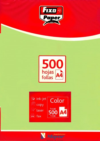 Papel multifuncion Color FIXO A4 claro 80 gr. Verde 500 hojas