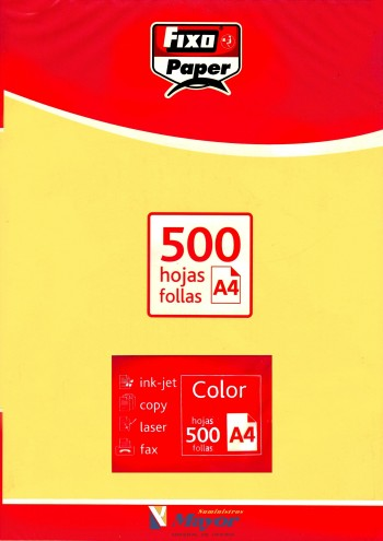 Papel multifuncion Color FIXO A4 claro 80 gr. Amarillo 500 hojas