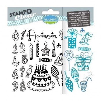 Manuales sellos ALADINE Stampo Clear aniversari infantil