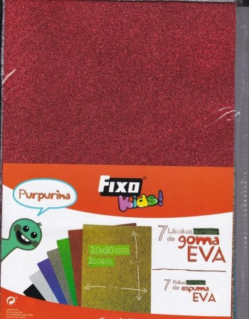 Pack Goma Eva FIXO Purpurina 200 x 300 x 2 mm. 7 colores surtidos