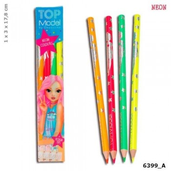 TOP MODEL estuche 4 lapices fluorescentes