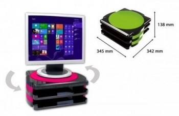 Soporte monitor OFFICE BOX giratorio con 2 bandejas