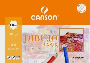 Papel basik CANSON 210x297 mm. A4 130 gr. minipak 10 hojas liso