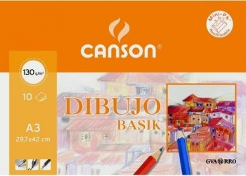 Papel basik CANSON 297x420 mm. A3 130 gr. minipak 10 hojas liso