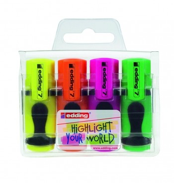Rotulador Fluorescente EDDING mini pack 4 colores