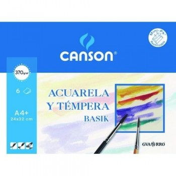 Papel dibujo CANSON acuarela 230x325 mm. A4+ 370 gr. minipak 6 hojas