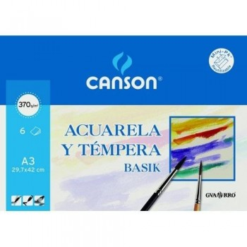 Papel dibujo CANSON acuarela 297x420 mm. A3 370gr. minipak 6 hojas
