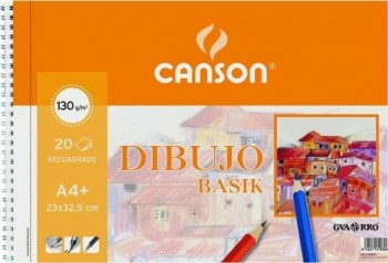 Bloc dibujo CANSON basik 230 x 325 mm. A4+ 130 grs. 20 hojas