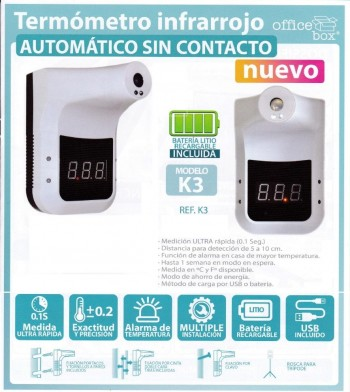 Termometro Digital OFFICEBOX Infrarojas Display LCDAdvertencia Alta Temperatura