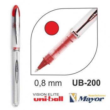Rollerball UNI-BALL Vision Elite UB-200 0,8 mm. rojo