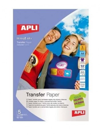 Papel creativo APLI A4 transfer inkjet camiseta color 5 hojas