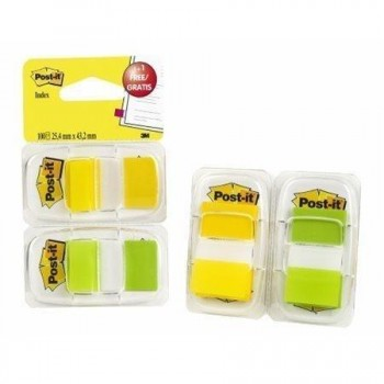 Banderitas index POST-IT 25x43 mm. amarillo/verde 50+50 unidades