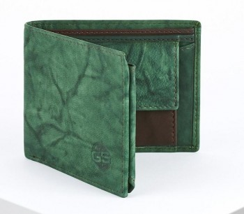 Cartera GS URBAN Monaco piel lavada billetro tarjetero monedero Verde / Marrón