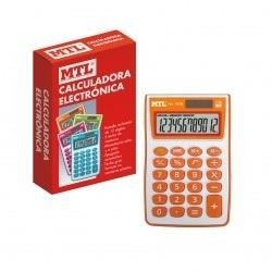 Calculadora MTL solar 12 digitos 74x113x21 mm. naranja