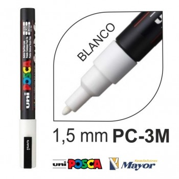 Rotulador POSCA Base agua PC-3M punta fina 0,9-1,3 mm. Blanco