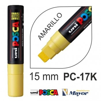 Rotulador POSCA Base agua PC-17K punta extra gruesa 15 mm. Amarillo