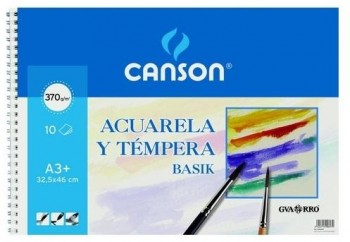 Bloc dibujo CANSON acuarela 325 x 460 mm. A3+ 370grs.10 hojas