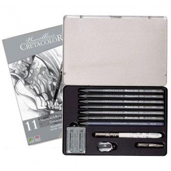 Estuche dibujo CRETACOLOR monolithbox grafite drawing set 11 piezas