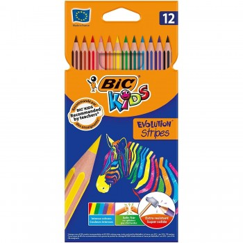 Pinturas BIC Kids Stripes sin madera 12 colores basicos