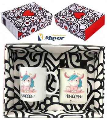 Set Regalo ALEX BOG Taza y Billetero Unicorn en de caja regalo