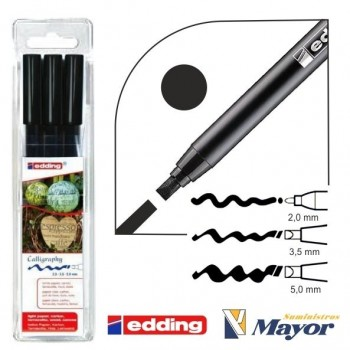 Rotuladores EDDING 1255 caligrafia kit 3 rotuladores 2, 3'5, 5 mm. negro