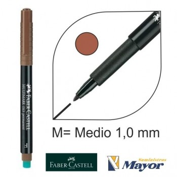 Rotulador FABER Multifuncional permanente punta M marron 1,0 mm.