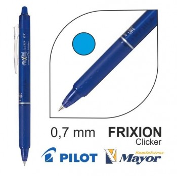 Bolígrafo borrable PILOT frixion clicker ball 0,7 mm. azul