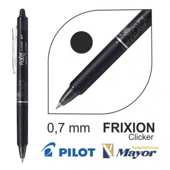 Bolígrafo borrable PILOT frixion clicker ball 0,7 mm. negro