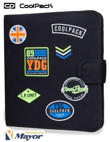 Carpebloc 4 anillas Entelado COOLPACK mate Parches Negra con complementos