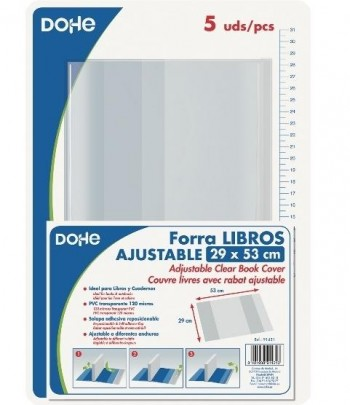 Forralibros ajustable DOHE 290 x 520 mm. pvc.120 micras pack 5 unidades
