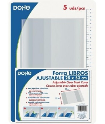 Forralibros ajustable DOHE 280 x 520 mm. pvc.120 micras pack 5 unidades