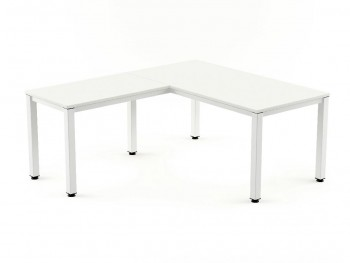 Ala Mesa ROCADA  serie Executive 100 x 60 cm. Metal blanca Tablero color Blanca