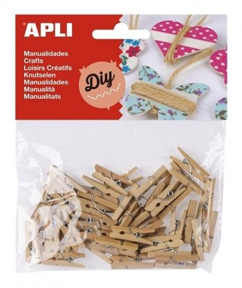Pinzas APLI Diy Scrapbooking Madera Mini Color Natural 25 x 3 mm. 45 unidades