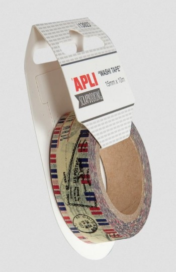 Cinta adhesiva decorada APLI washi tape 1,5 cm. x 10 m.  Air mailing