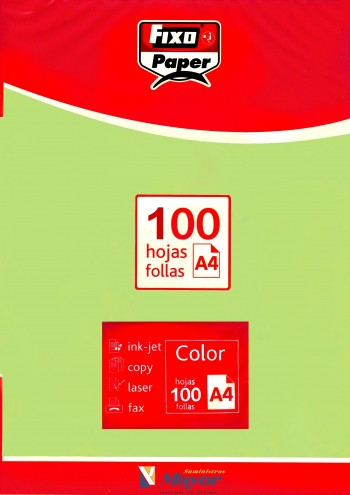 Papel multifuncion Color FIXO A4 claro 80 gr. Verde natura 100 hojas
