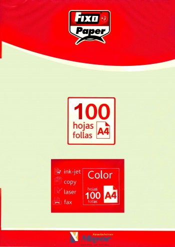 Papel multifuncion Color FIXO A4 claro 80 gr. Verde palido 100 hojas