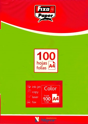 Papel multifuncion Color FIXO A4 intenso 80 gr. Verde vivo 100 hojas