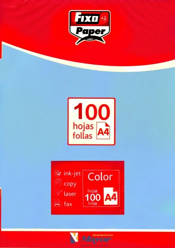Papel multifuncion Color FIXO A4 claro 80 gr. Azul 100 hojas