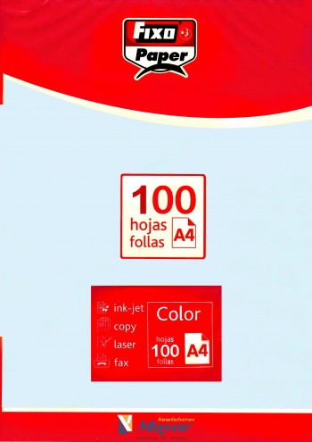 Papel multifuncion Color FIXO A4 claro 80 gr. Azul claro 100 hojas