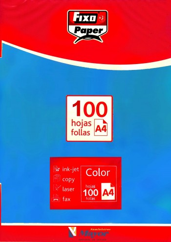 Papel multifuncion Color FIXO A4 intenso 80 gr. Azul turquesa 100 hojas