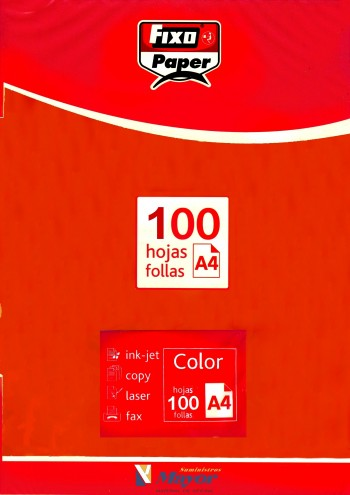 Papel multifuncion Color FIXO A4 intenso 80 gr. Rojo vivo 100 hojas