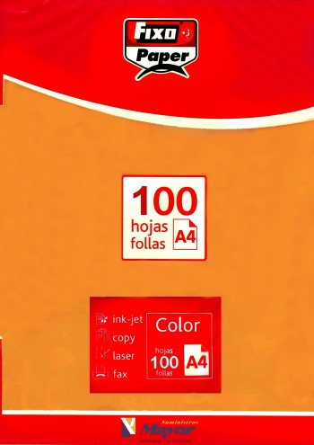Papel multifuncion Color FIXO A4 intenso 80 gr. Naranja vivo 100 hojas