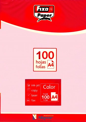 Papel multifuncion Color FIXO A4 claro 80 gr. Rosa claro 100 hojas