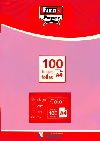 Papel multifuncion Color FIXO A4 claro 80 gr. Rosa 100 hojas